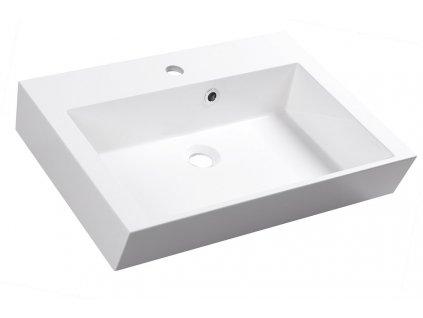 ORINOKO umyvadlo 60x45cm, litý mramor, bílá