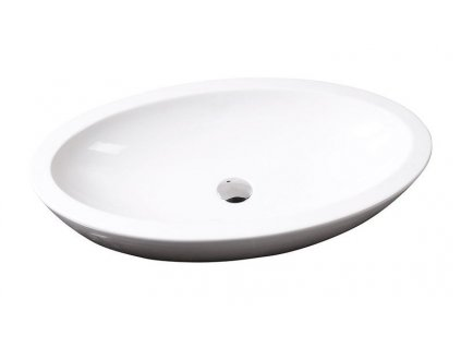 SISTEMA keramické umyvadlo oválné bez přepadu 75x42cm, bílá