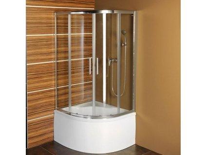 SELMA čtvrtkruhová sprchová zástěna 900x900x1500, čiré sklo