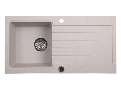 Dřez granitový vestavný s odkapávací plochou, 86x43,5 cm, bílá