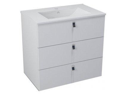 MITRA umyvadlová skříňka, 3 zásuvky, 74,5x70x45,2 cm, bílá