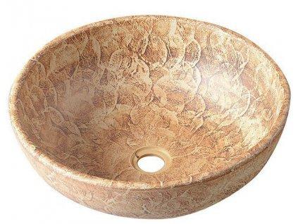 PRIORI keramické umyvadlo, průměr 41cm, hnědá se vzorem