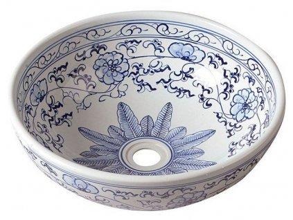 PRIORI keramické umyvadlo, průměr 41cm, bílá s modrým vzorem