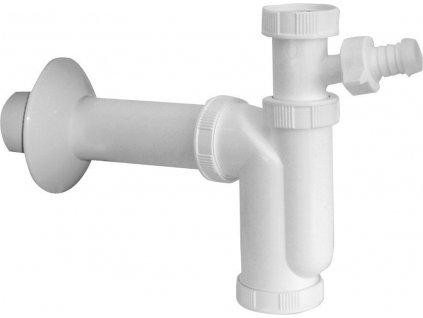 Dřezový sifon s odbočkou 1'1/2, odpad 50mm, bílá
