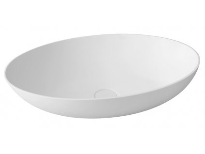 THIN oválné umyvadlo na desku, 60x40x14,5cm, bílá mat