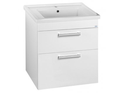 POLY umyvadlová skříňka 66x74,6x46,5cm, 2xzásuvka, bílá
