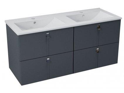 MITRA umyvadlová skříňka s umyvadlem 150x55x46 cm, antracit