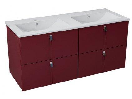 MITRA umyvadlová skříňka s umyvadlem 150x55x46 cm, bordó