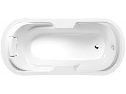 LINDA oválná vana 190x88x43cm, bílá vč. podhlavniku