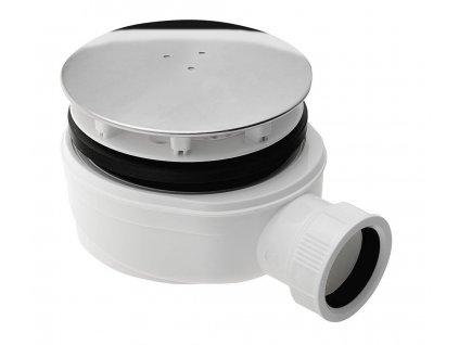 Vaničkový sifon, průměr otvoru 90 mm, DN40, extra nízký, krytka leštěný nerez