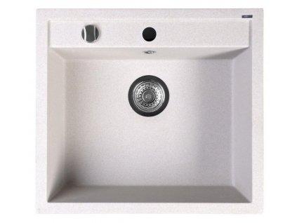 Dřez granitový vestavný mono, 57x51 cm, bílá