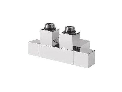 CUBE TWIN připojovací sada ventilů pro středové připojení, 50 mm, broušený nerez