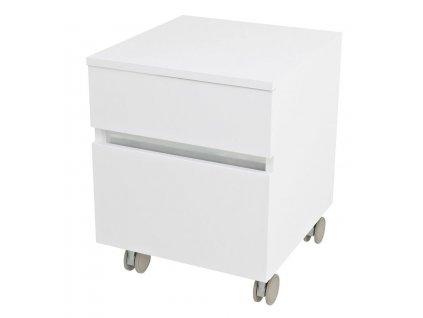 AVICE skříňka na kolečkách, 2x zásuvka 45x57x48,5cm, bílá