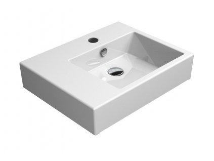 KUBE umyvadlo 60x47 cm, s odkladnou plochou vlevo, ExtraGlaze