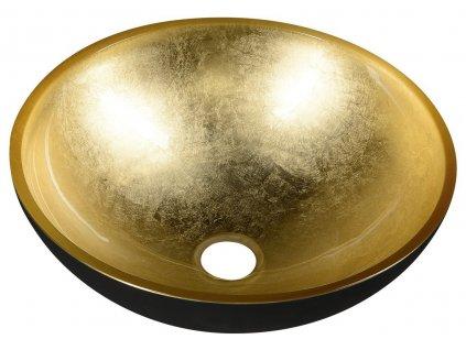 MURANO BLACK-GOLD skleněné umyvadlo kulaté 40x14 cm, černá/zlatá