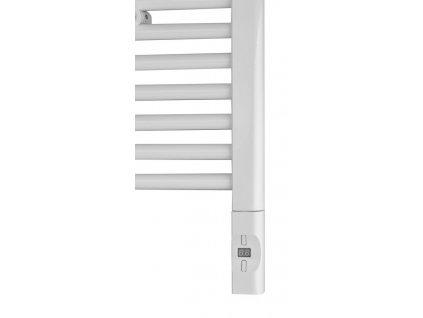 Elektrická topná tyč s termostatem a dálkovým ovládáním, 600 W, D-tvar, bílá