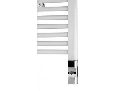 Elektrická topná tyč s termostatem a dálkovým ovládáním, 600 W, D-tvar, chrom