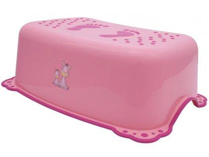 Dětské protiskluzové stupátko do koupelny Zebra, růžová