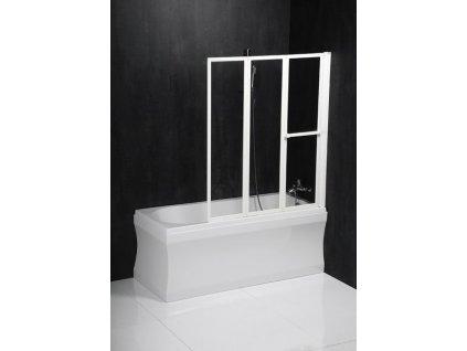 LANKA3 pneumatická vanová zástěna 1210mm, bílý rám, čiré sklo