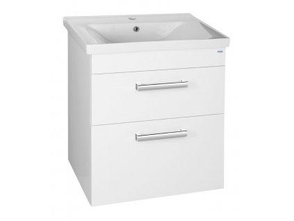 POLY umyvadlová skříňka 61,5x74,6x43 cm, 2xzásuvka, bílá