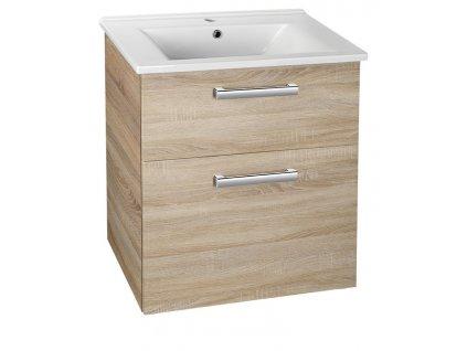 VEGA umyvadlová skříňka 62x72,6x43,8 cm, 2xzásuvka, dub platin
