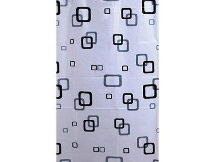 Sprchový závěs 180x180cm, vinyl, bílá/modrá/černá
