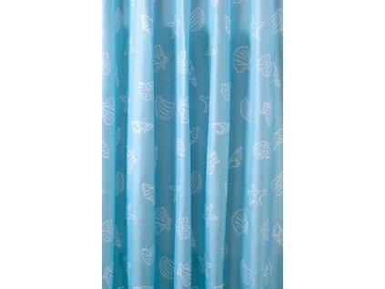 Sprchový závěs 180x200cm, polyester, modrá, mušle
