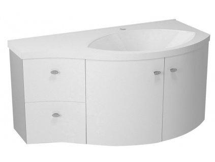 AILA umyvadlová skříňka 110x39cm, bílá/stříbrná, zásuvky vlevo