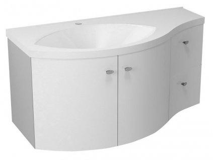 AILA umyvadlová skříňka 110x39cm, bílá/stříbrná, zásuvky vpravo