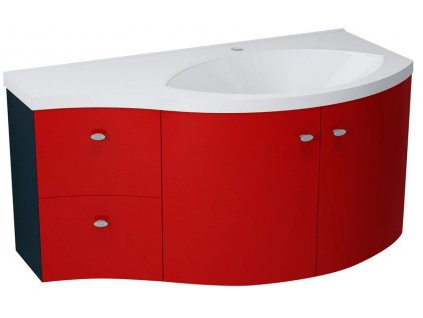 AILA umyvadlová skříňka 110x39cm, červená/černá, zásuvky vlevo