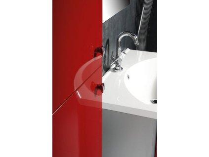 AILA skříňka vysoká s košem 35x140x30cm, levá, červená/stříbrná