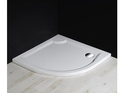 LAURA100 sprchová vanička z litého mramoru, čtvrtkruh 100x100x4cm, R500