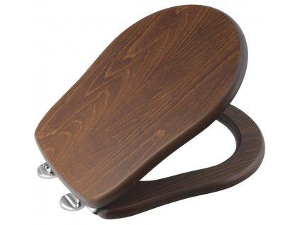 RETRO WC sedátko, dřevo masiv, ořech/chrom
