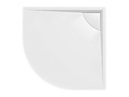 LUSSA sprchová vanička z litého mramoru se záklopem, čtvrtkruh 90x90x4cm, R550