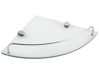RUMBA skleněná rohová police 250x42x250 mm, čiré sklo