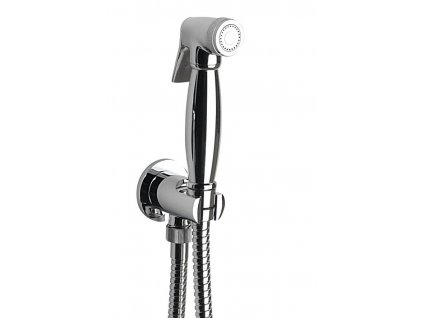 Bidetová sprcha retro s hadicí a držákem sprchy s vyústěním, chrom