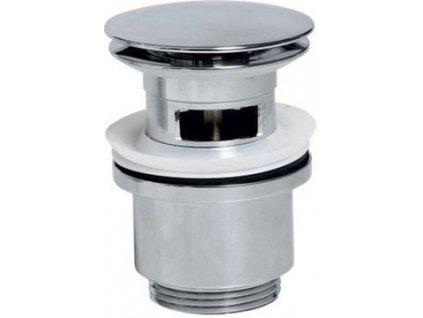Uzavíratelná kulatá umyvadlová výpust click clack, velká zátka, V 30-50mm, chrom