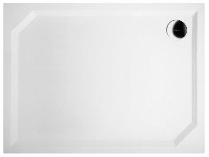 SARA sprchová vanička z litého mramoru, obdélník 100x75x3,5 cm, hladká