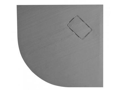 ATIKA vanička z litého mramoru, čtvrtkruh 90x90x3,5cm, R550, šedá, dekor kámen