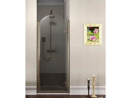 ANTIQUE sprchové dveře otočné, 800mm, pravé, ČIRÉ sklo, bronz