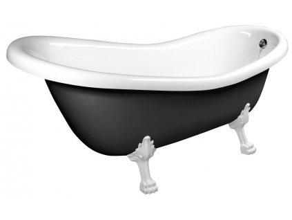 RETRO volně stojící vana 173x75x84cm, nohy bílé, černá/bílá