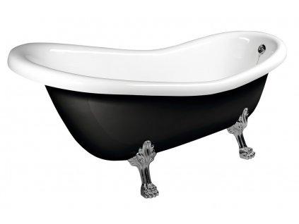 RETRO volně stojící vana 158x73x72cm, nohy chrom mat, černá/bílá