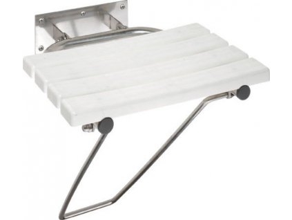 Sklopné sprchové sedátko s opěrnou nohou, bílá
