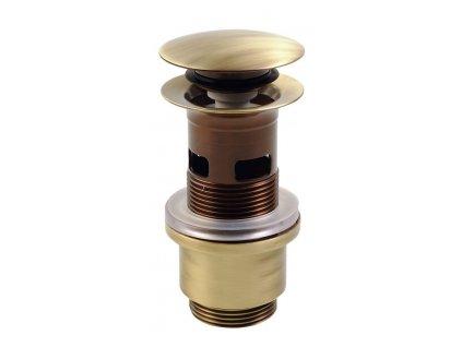 Uzavíratelná k. výpust pro umyvadla s přepadem, Click Clack, tichá, V 40-64mm,br