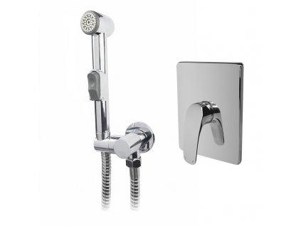 Podomítková baterie s bidetovou sprchou, Eve, Mbox, hranatý kryt, chrom
