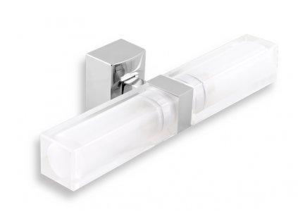 Dvojité koupelnové světlo hranaté chrom