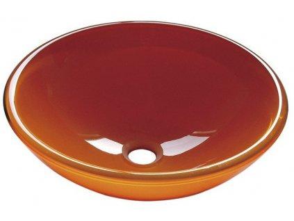 ORANGE skleněné umyvadlo průměr 42 cm, oranžová