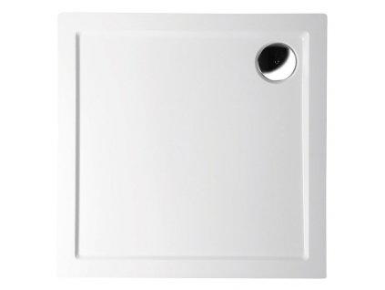AURA sprchová vanička z litého mramoru, čtverec 100x100x4cm, bílá