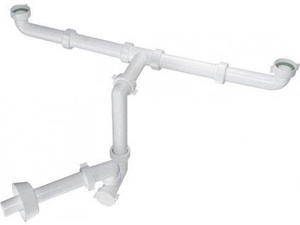 BAZOOKA SPACE umyvadlový sifon pro dvojumyvadlo, 1'1/4, odpad 32mm, bílá