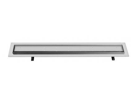 FLOW 87 nerezový sprchový kanálek s roštem pro dlažbu, 870x150x82 mm